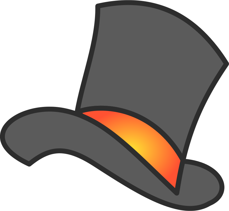 Clipart - Gray Yellow Orange Top Hat