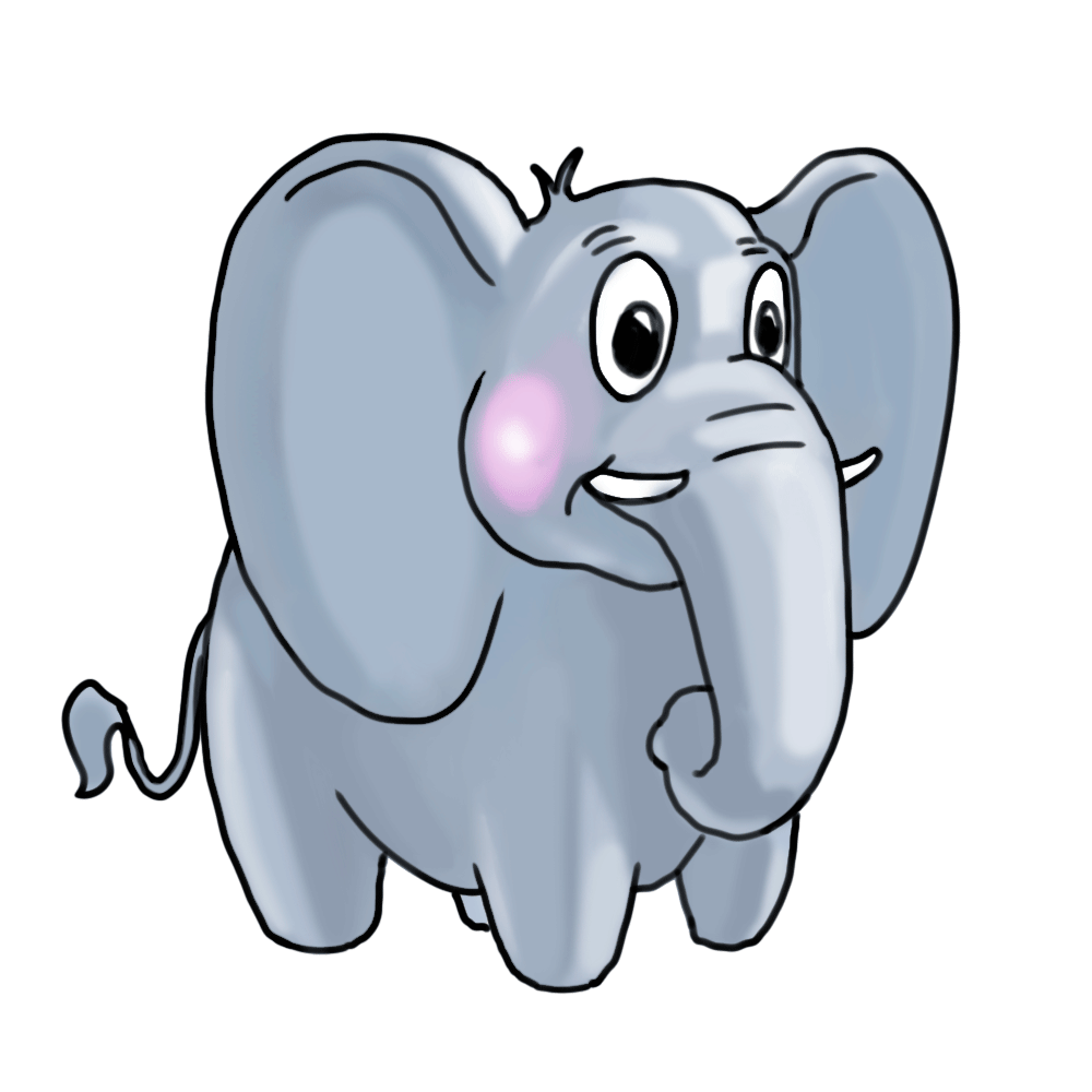 how to draw an elephant face for kids