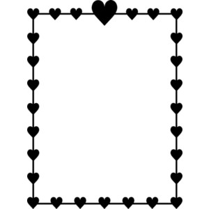 Heart border clip art black and white