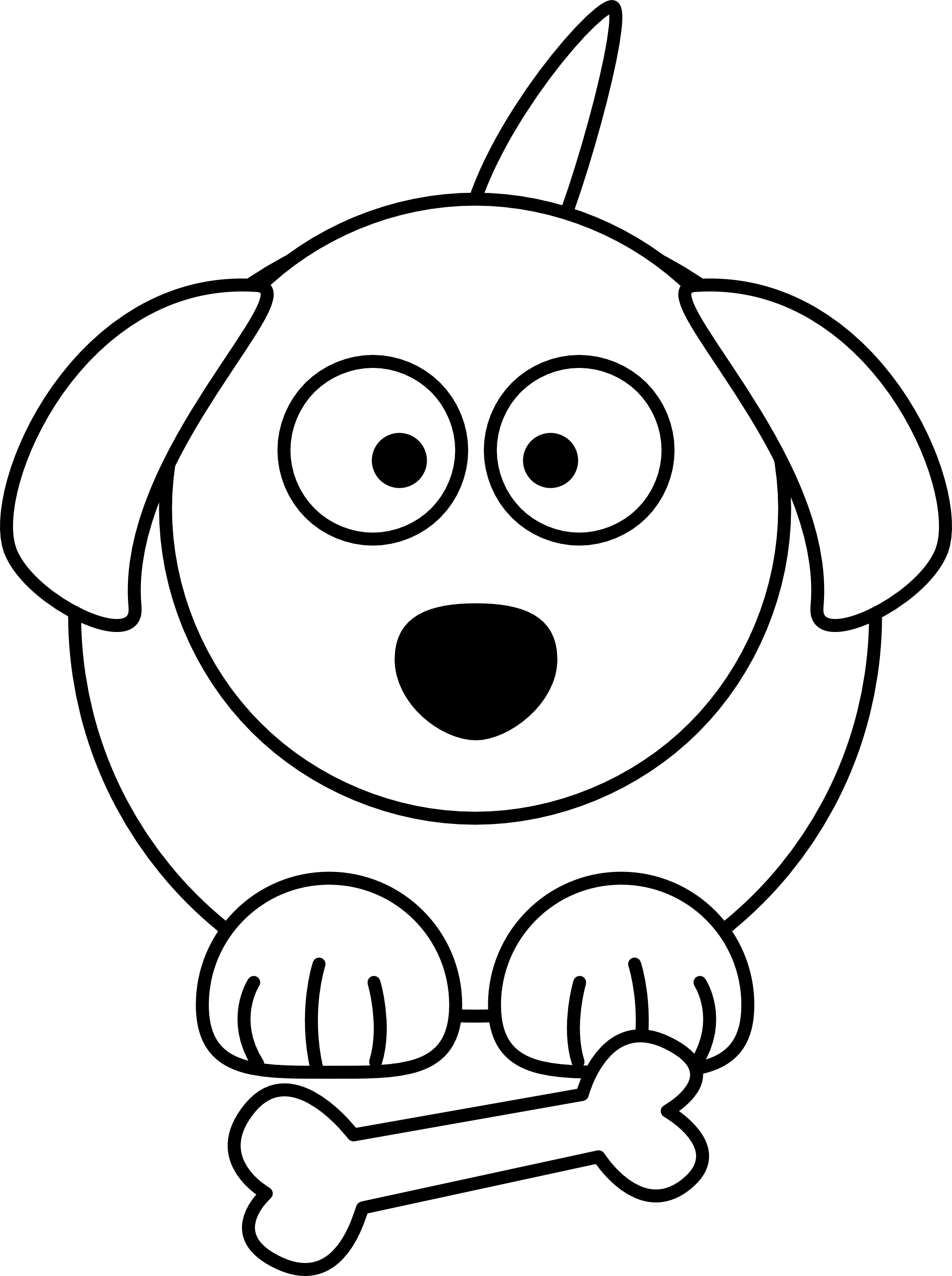 Cartoon Dog Black White Line Animal Coloring Sheet Colouring Page ...