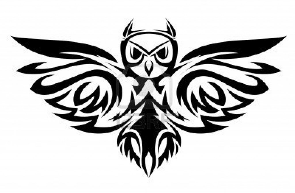 Tribal owl design clipart best for Tribal owl tattoo