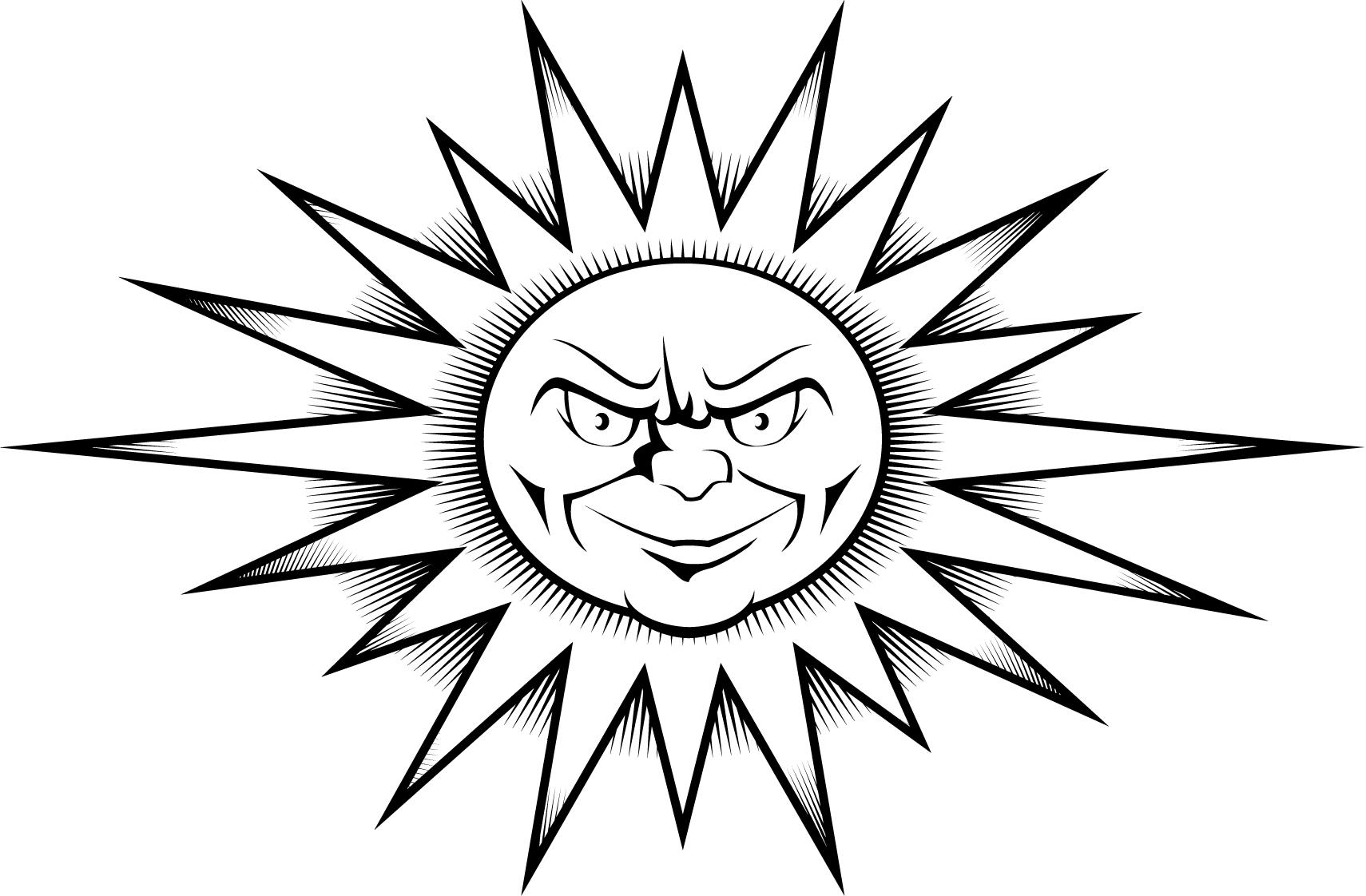 Worksheet Of A Sun Tattoo Design Printable Coloring