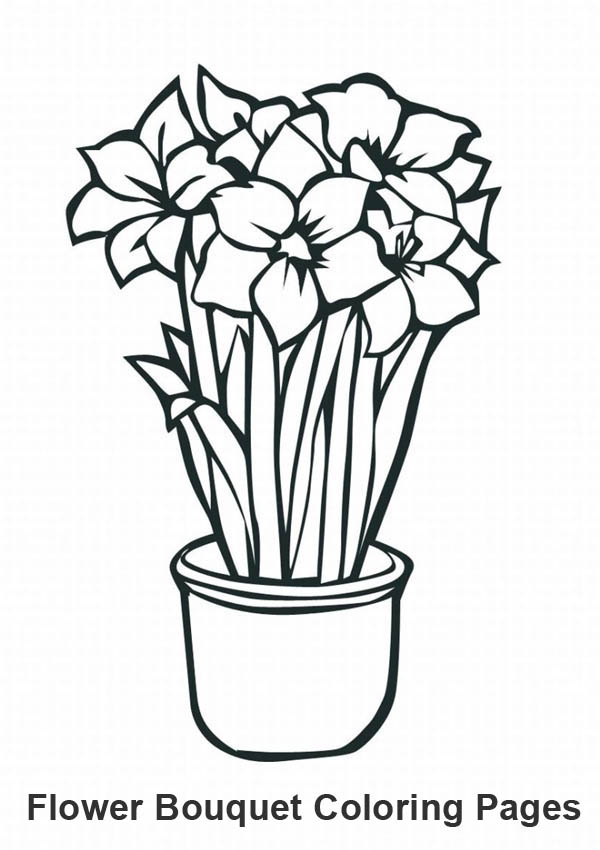 Coloring Pages Flowers Bouquet : Coloring Pages Of Flower Bouquet ClipArt Best