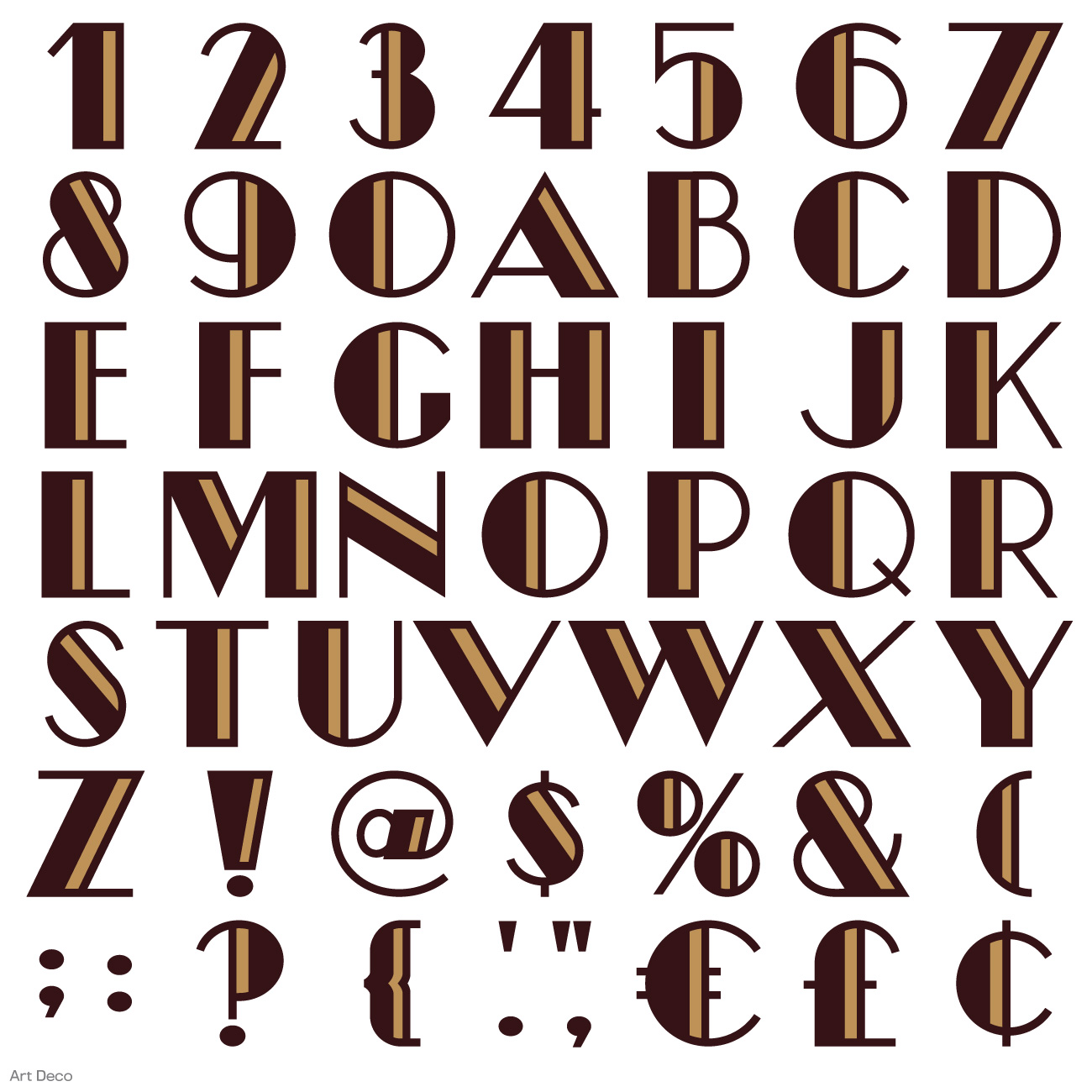 One Line Font Art : Artdeco clipart best