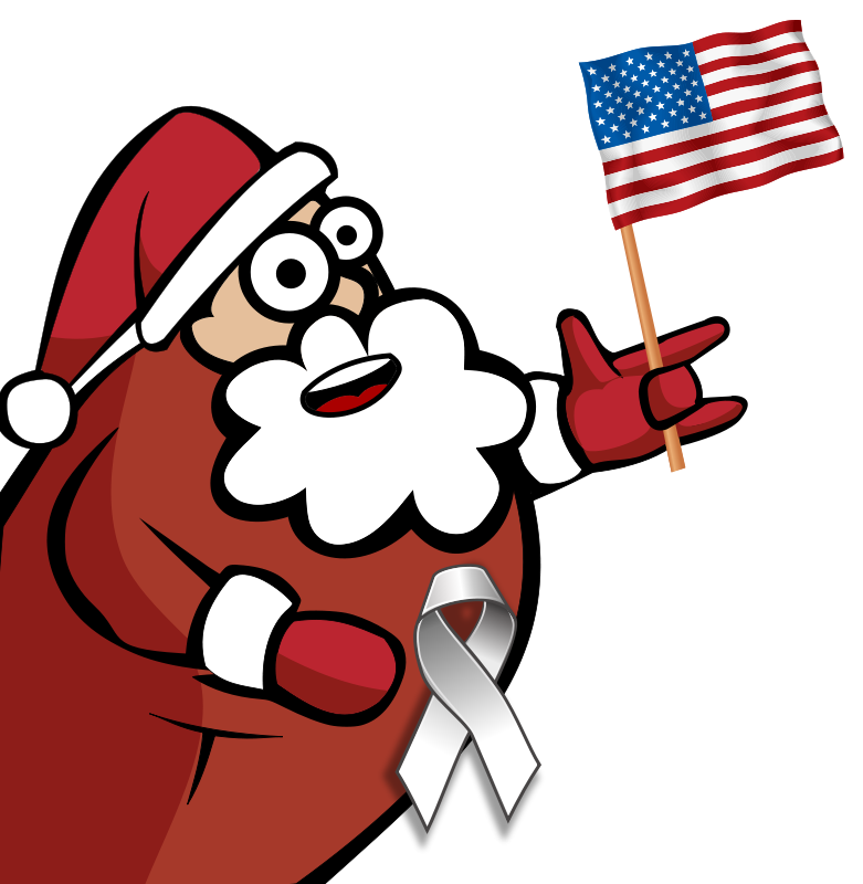 Free Funny Looking Santa Holding an American Flag Clip Art