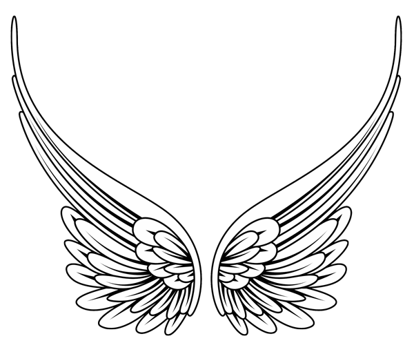 Line Art With Lines And Angles : Angel wings lineart clipart best