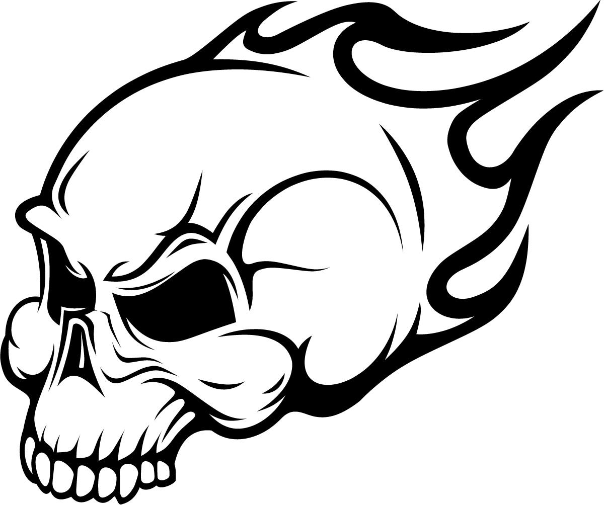 Skull Designs Drawing Flaming Skull Head Wall Art