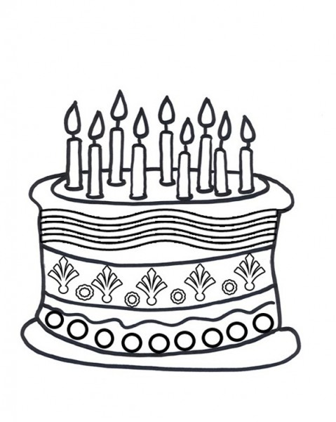 Line Drawing Cake : Birthday cake line drawing clipart best
