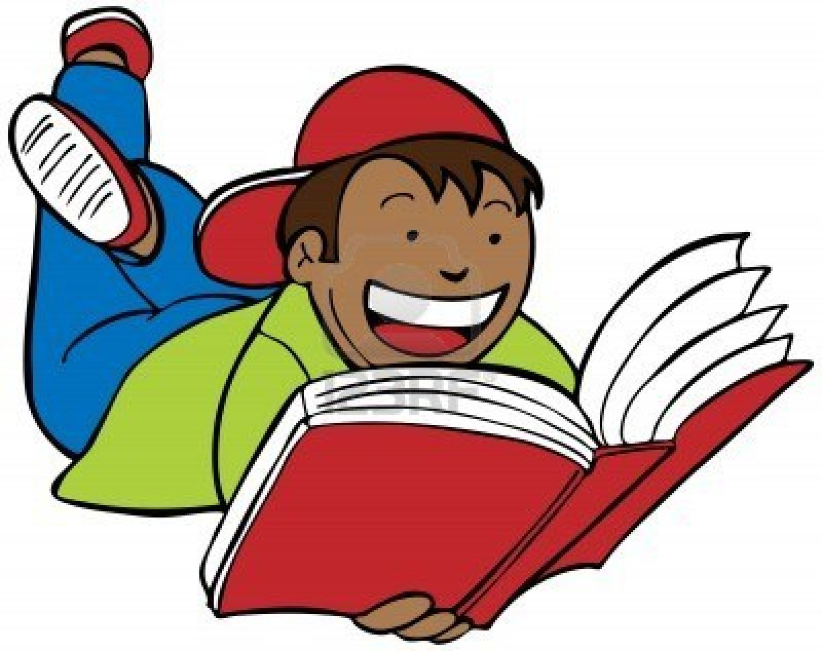 Child reading a book clipart image