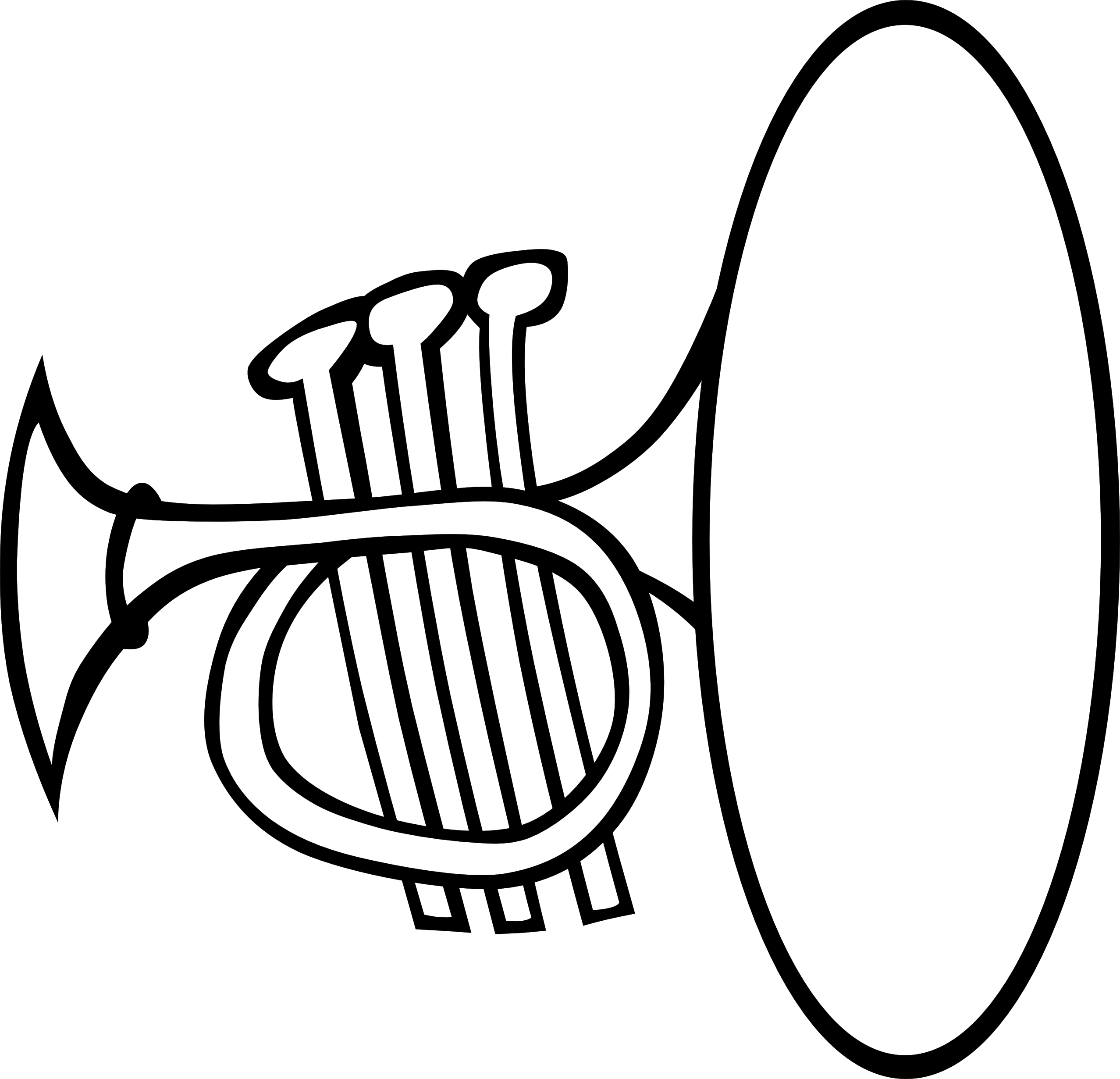 Clip Art: Silly Trumpet Bw Black White Line Art ... - ClipArt Best ...
