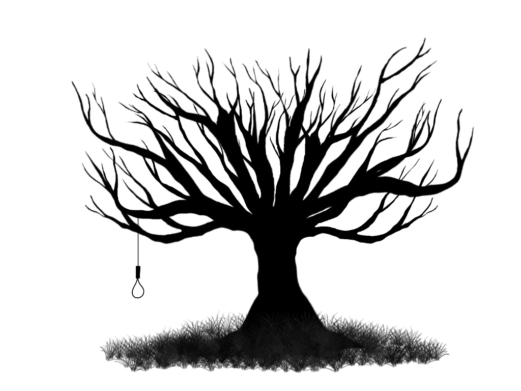 Up Close A Drawing Of A Tree In Black And White - ClipArt Best