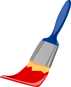 Paint Brush Blue And Red Clip Art - vector clip art ...