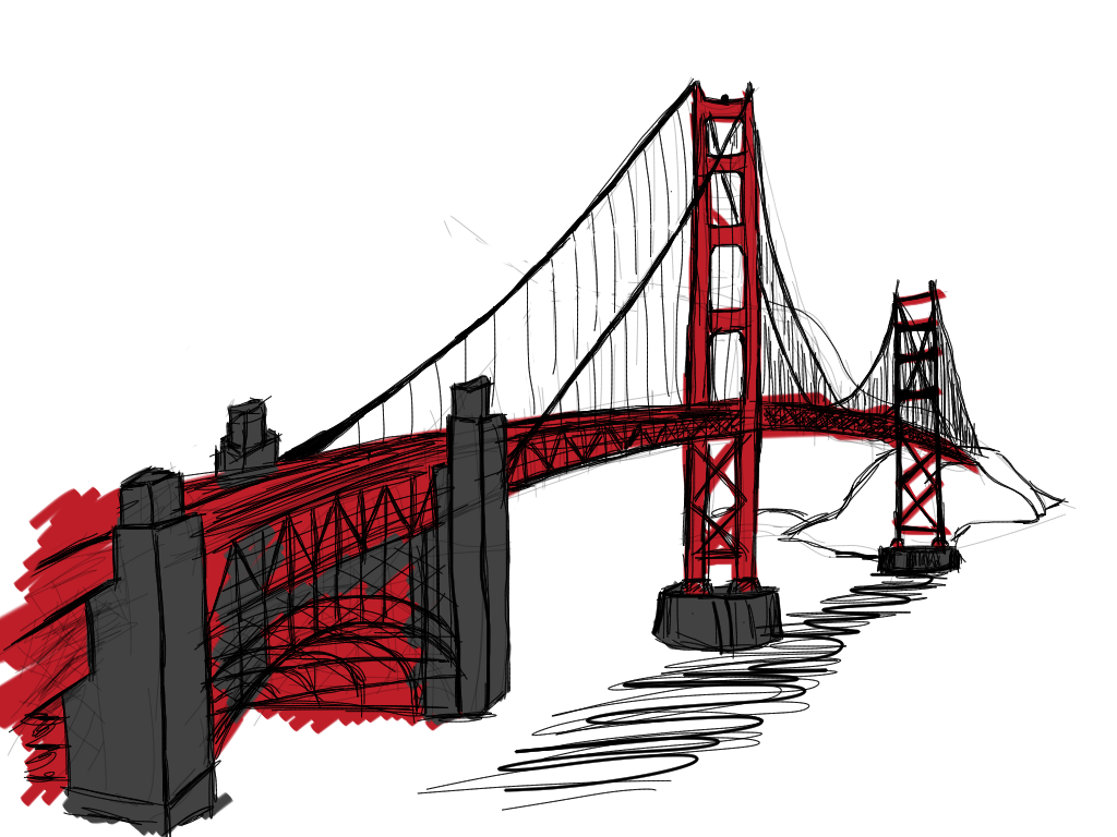 Golden Gate Bridge Drawing Clip Art Golden Gate Bridge - C...