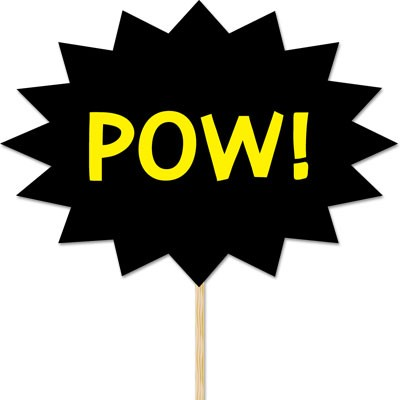 POW! Comic Style Felt Sign on a Stick