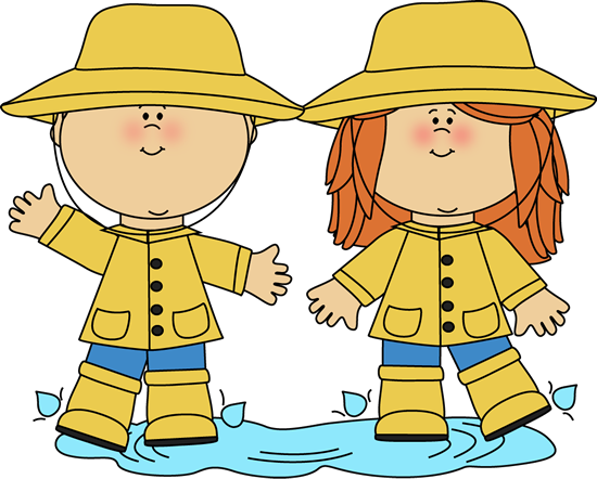 Kids Playing in a Rain Puddle Clip Art - Kids Playing in a Rain ...