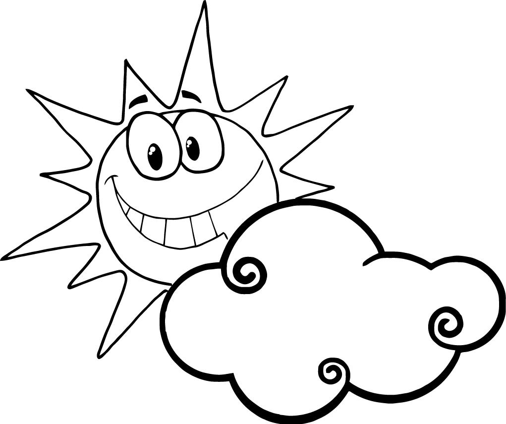 Happy Face Sun Coloring Page Clipart Best