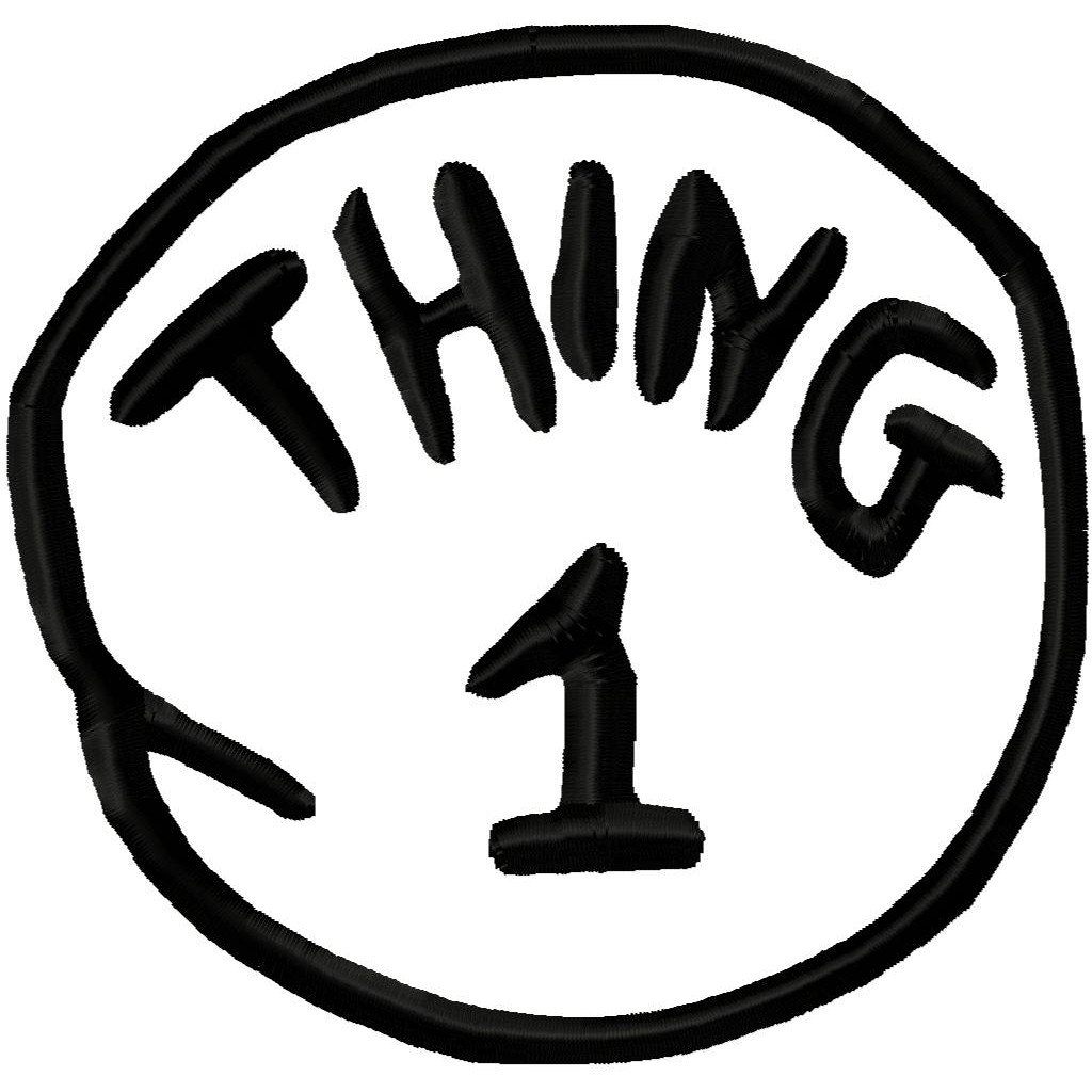 Obsessed image for thing 1 and thing 2 logo printable