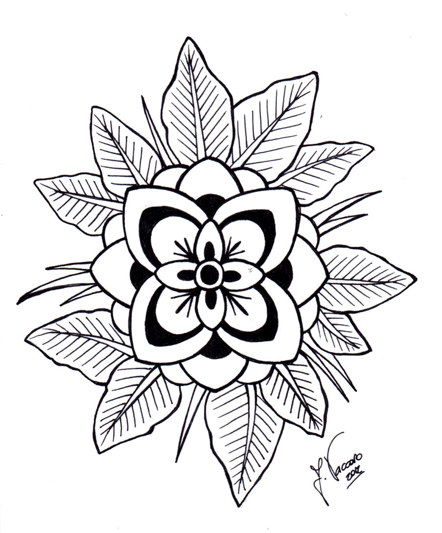 Line Drawing Flower Designs : Flower line art clipart best