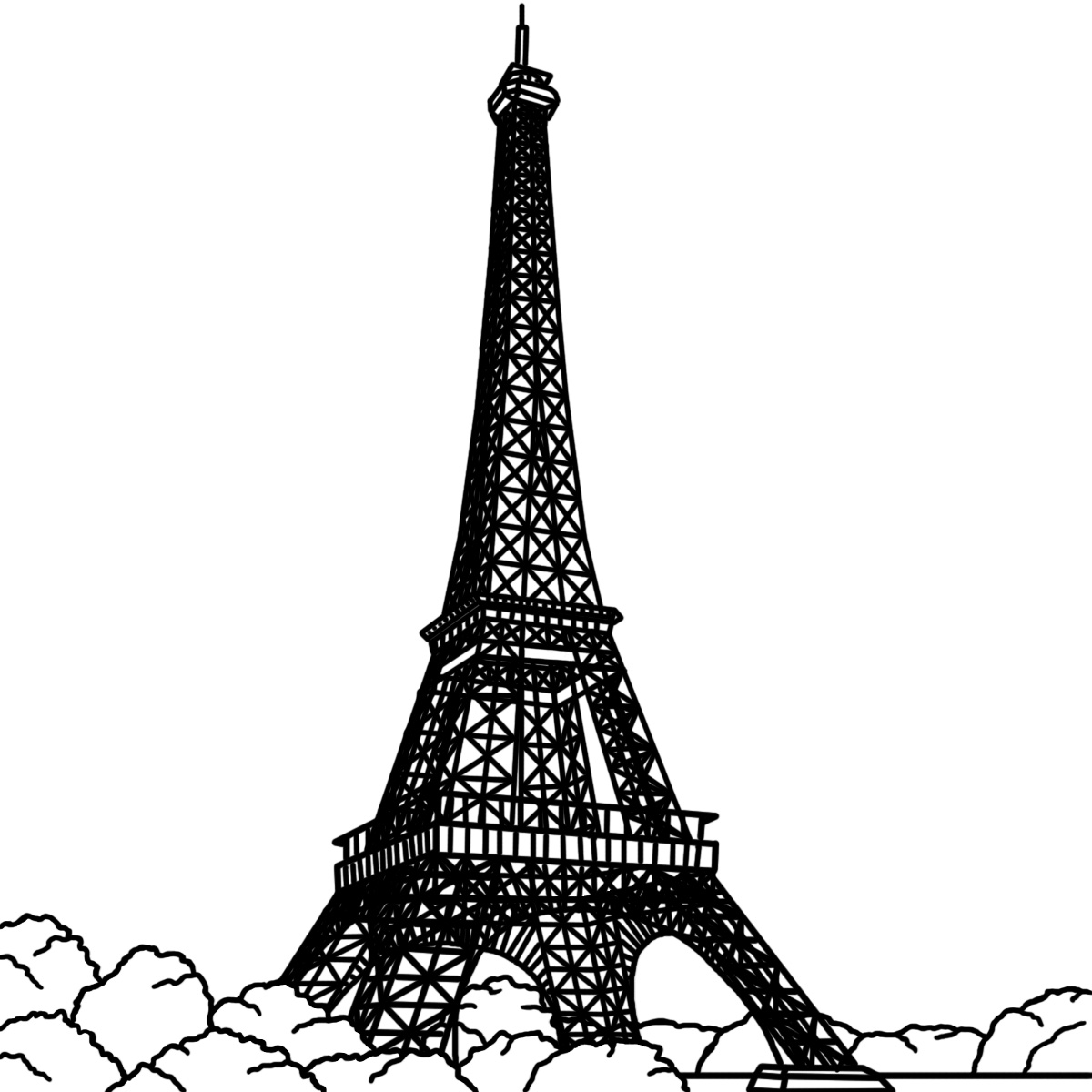 Black And White Eiffel Tower Drawing - ClipArt Best