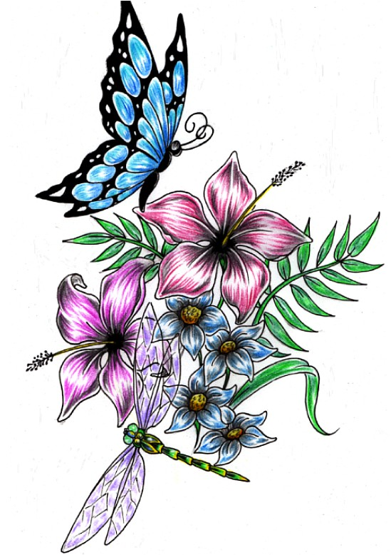 Dragonfly n Flower Tattoo Drawing | Fresh 2017 Tattoos Ideas