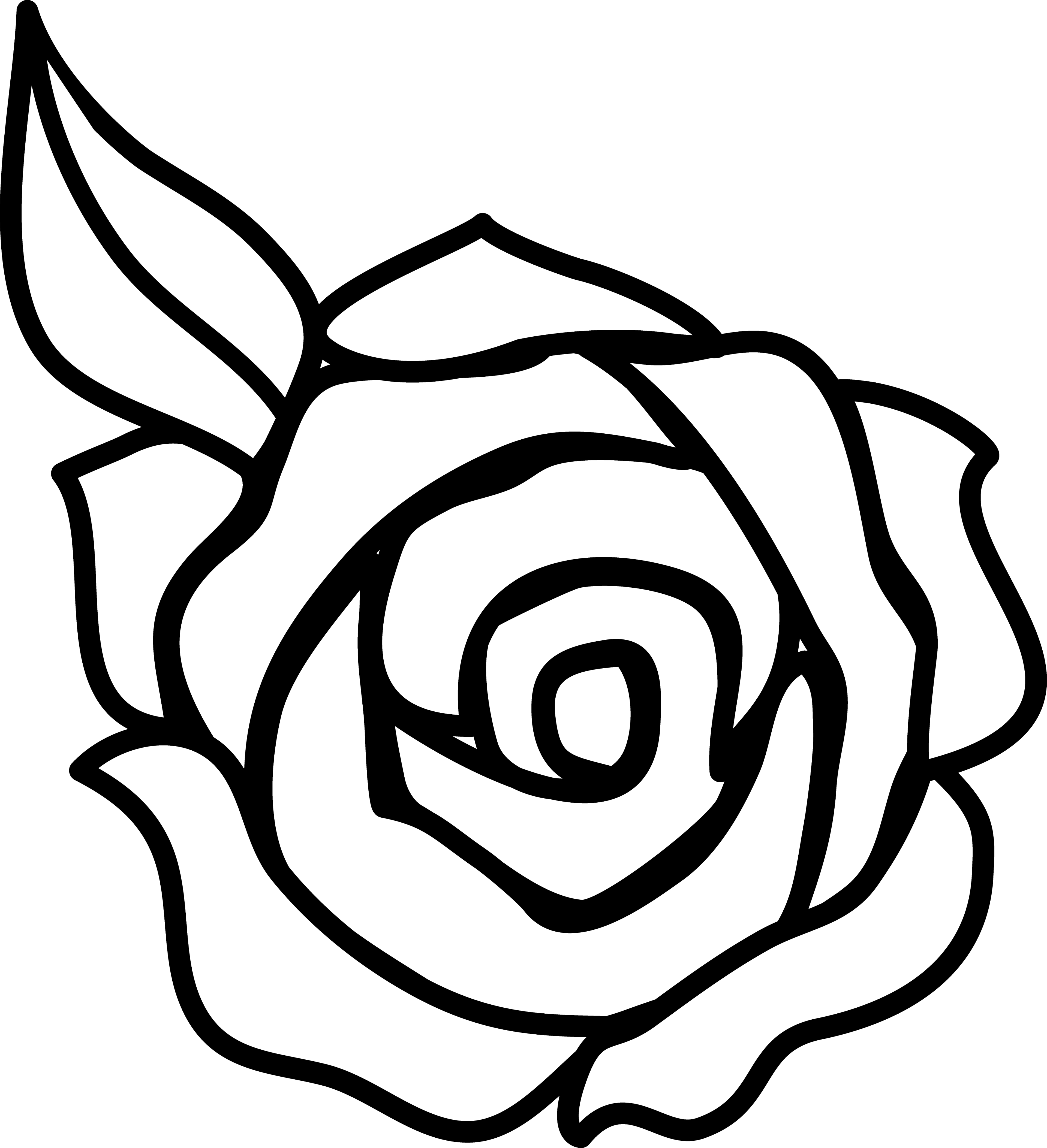 Simple rose outline clipart