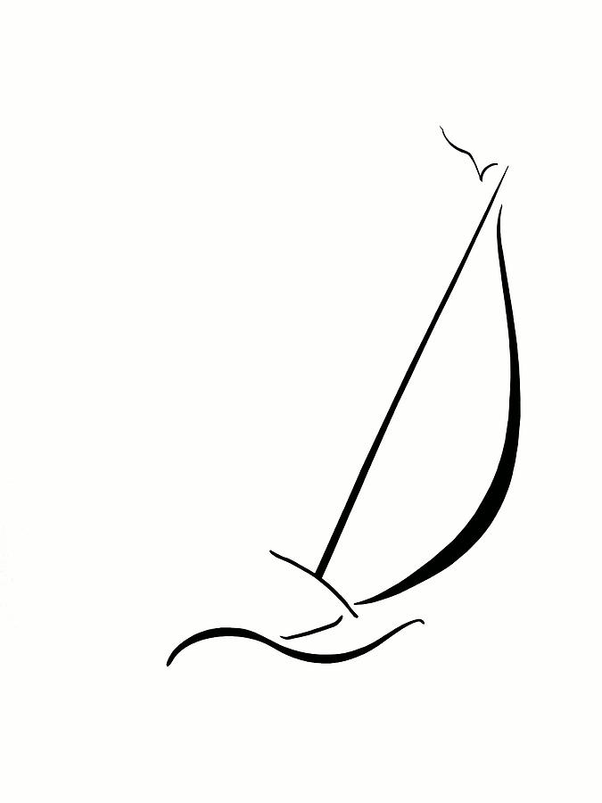 Line Drawing Yacht : Sailboat drawing clipart best