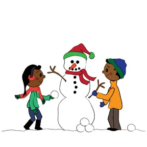 snowman clipart image african american boy and girl