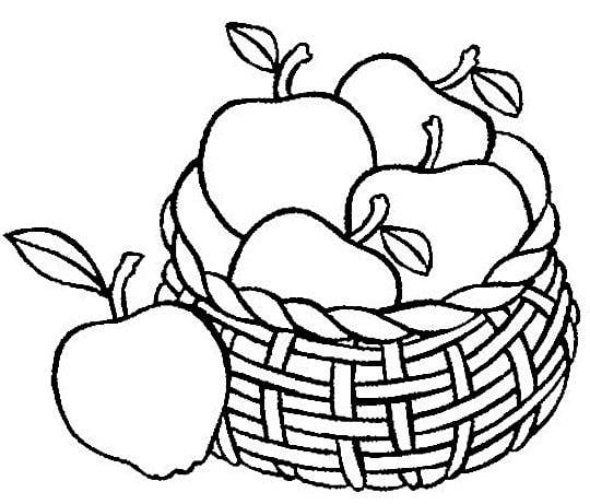 Cartoon Apple Coloring Pages : Basket of apples coloring page clipart best