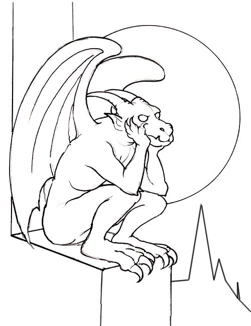 printable coloring pages of gargoyles - photo#5