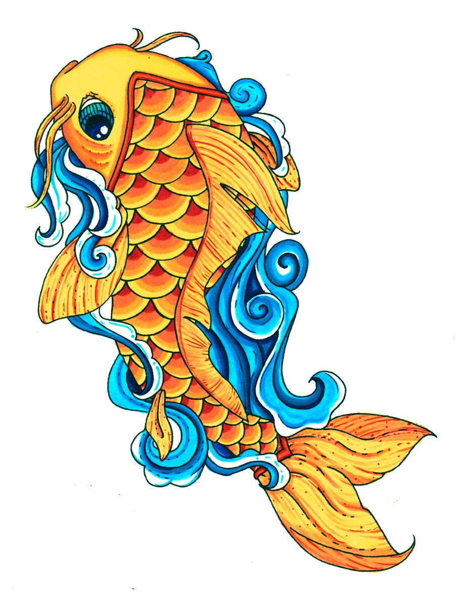 Colorful koi fish drawings clipart best clipart best for Colourful koi fish