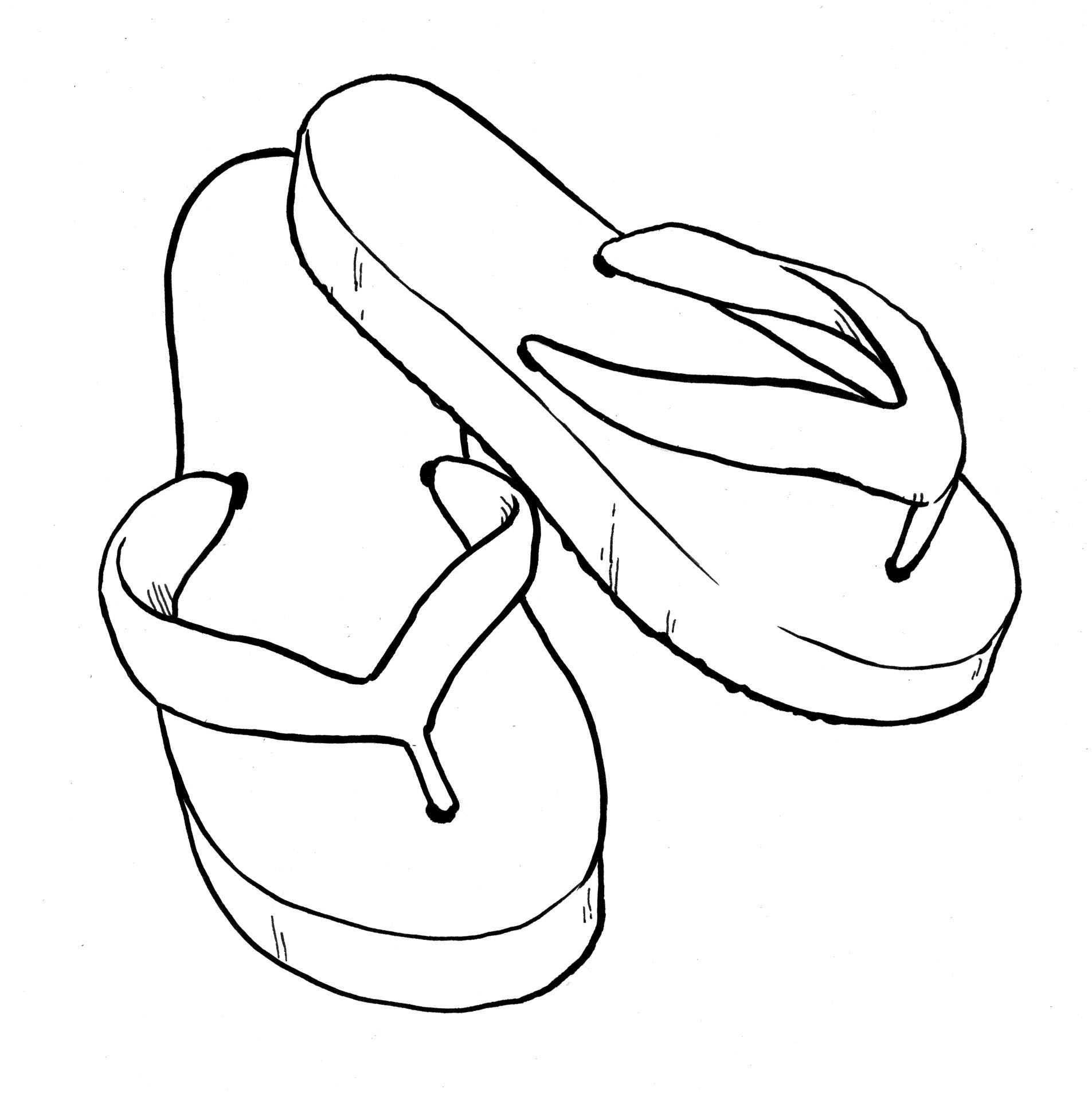 Flip Flops Clipart Black And White - Free Clipart