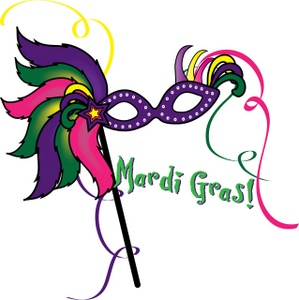 Mardi Gras Clipart Image - Mask for Mardi Gras with Streamers