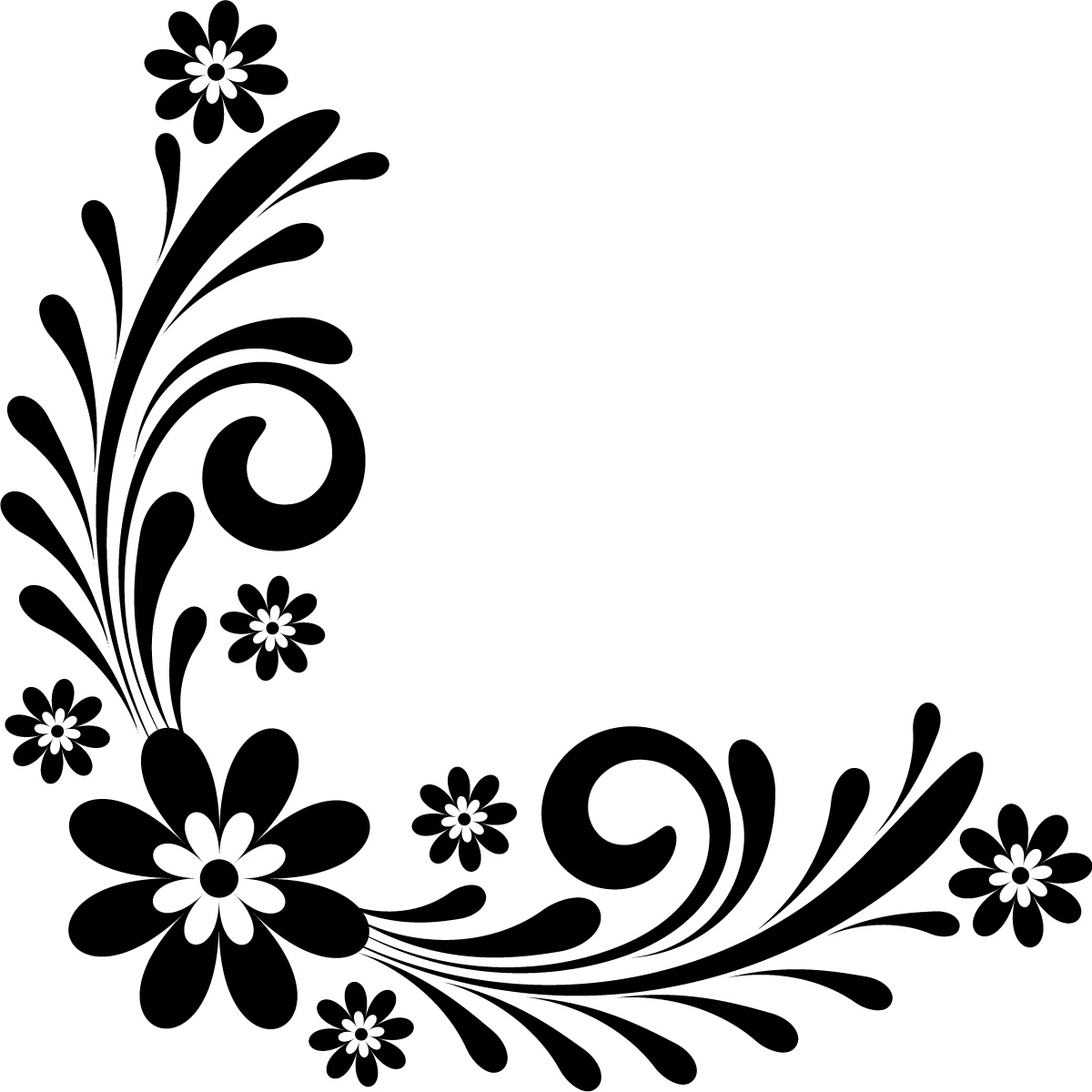 Floral Art Line Design : Flower line art corners clipart best