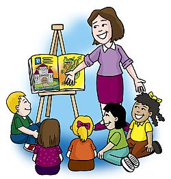 Free clipart of teacher reading to student