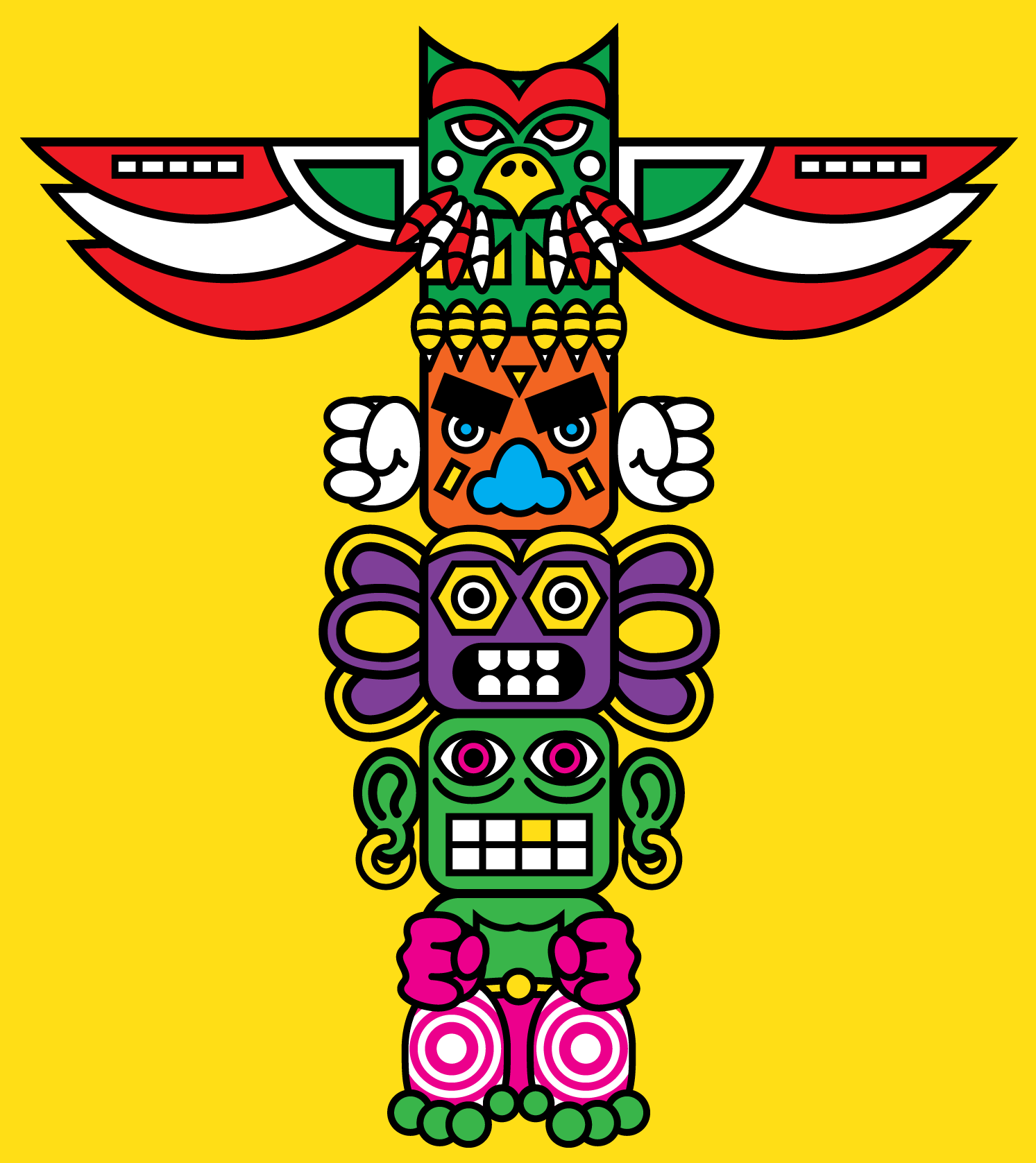 totem pole coloring pages eagle owl head adult antistress