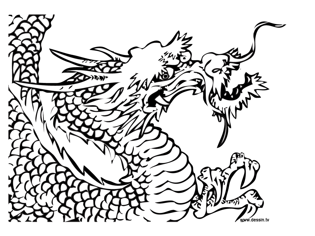 Chinese dragons detailed drawings clipart best for Double heart coloring pages
