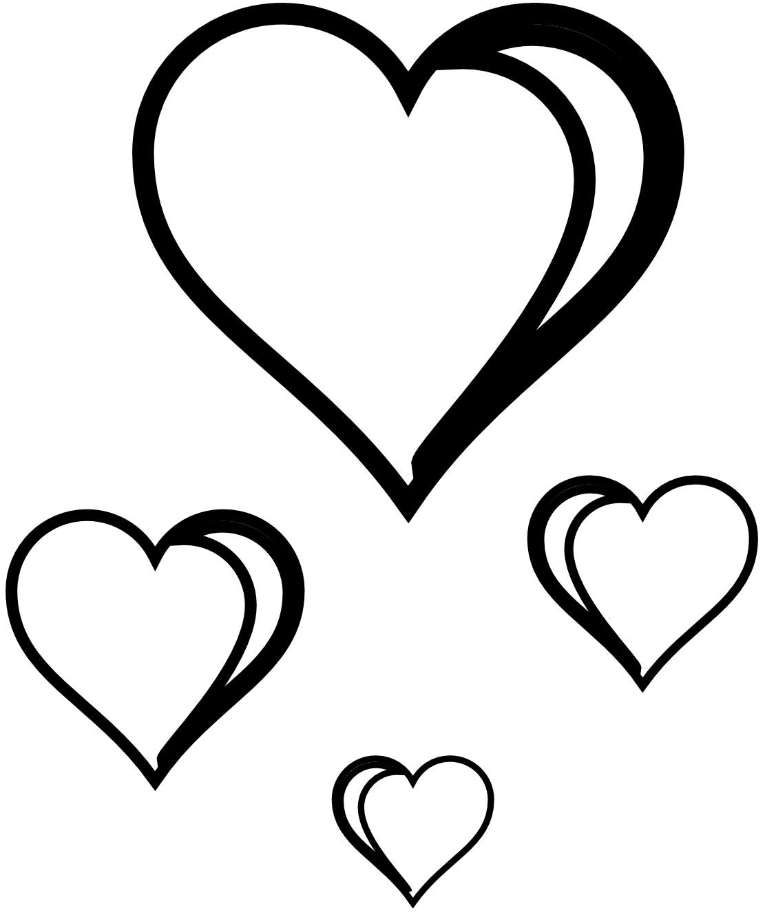 Line Art Love Heart : Heart cluster coloring book colouring sheet page black