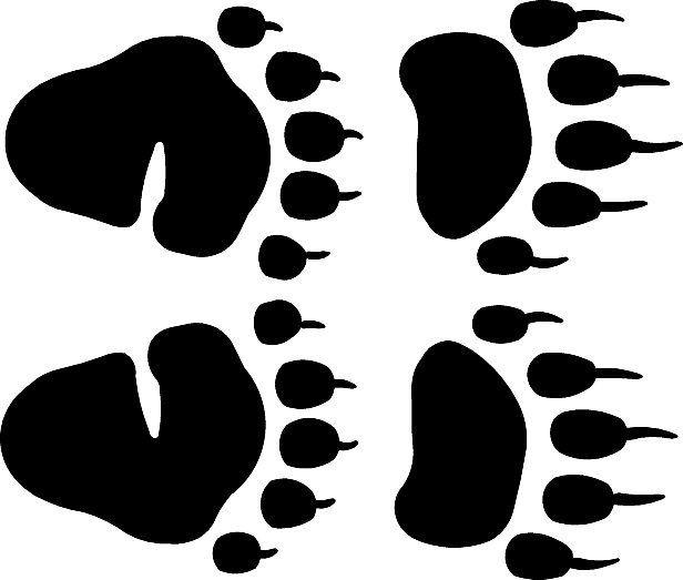 Bitty Black Bear Track Footprint Sticker Mini Paw Decals