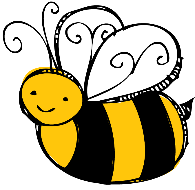 Buzzing bee clipart black and white