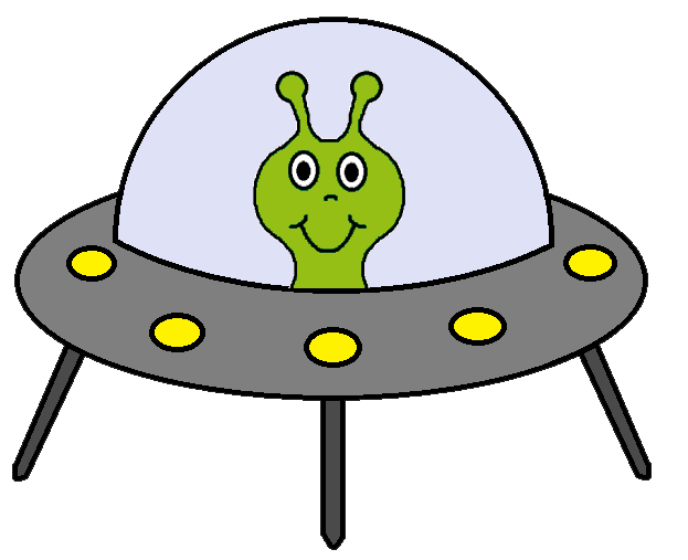 Alien in spaceship clipart