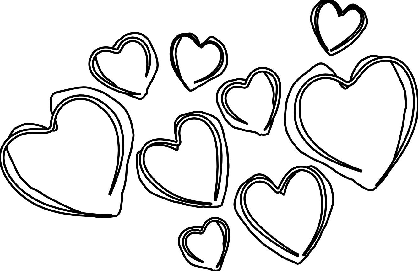 Line Art Love Heart : Black and white pictures of hearts clipart best