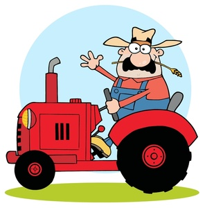 Farmer Clipart Image - Hayseed Farmer Riding a Tractor ...