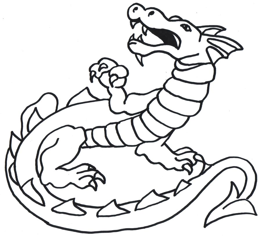 Dragon Line Drawing Easy : Dragon drawing free clipart best