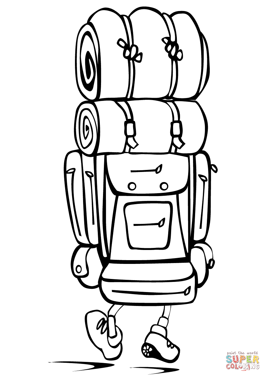 Camping Backpack coloring page | Free Printable Coloring Pages