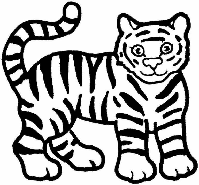 free black and white tiger clipart - photo #18