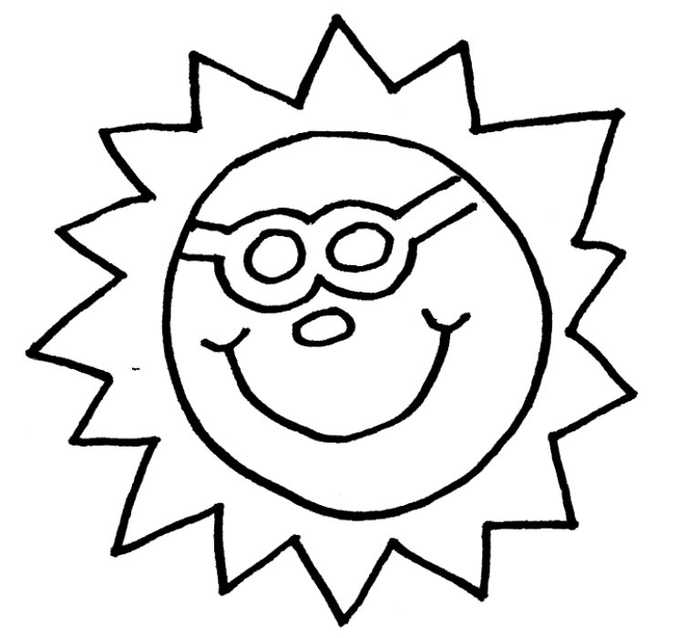 Sun Line Drawing Sun With Sunglasses Coloring