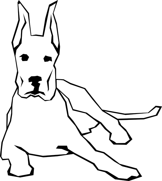 Black and white dog drawing - photo#23