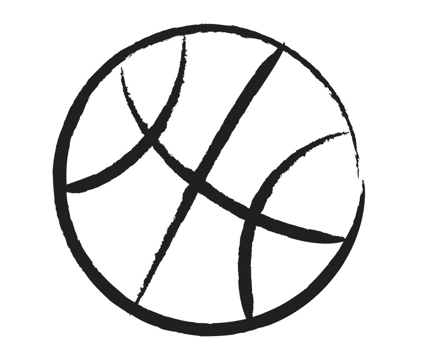 Basketball ball clipart black and white