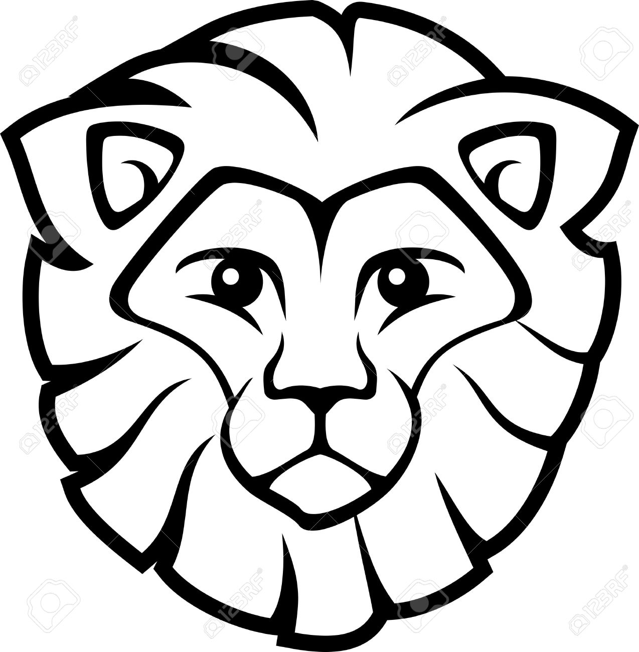 Lion head drawing for kids clipart best for Lion face coloring page