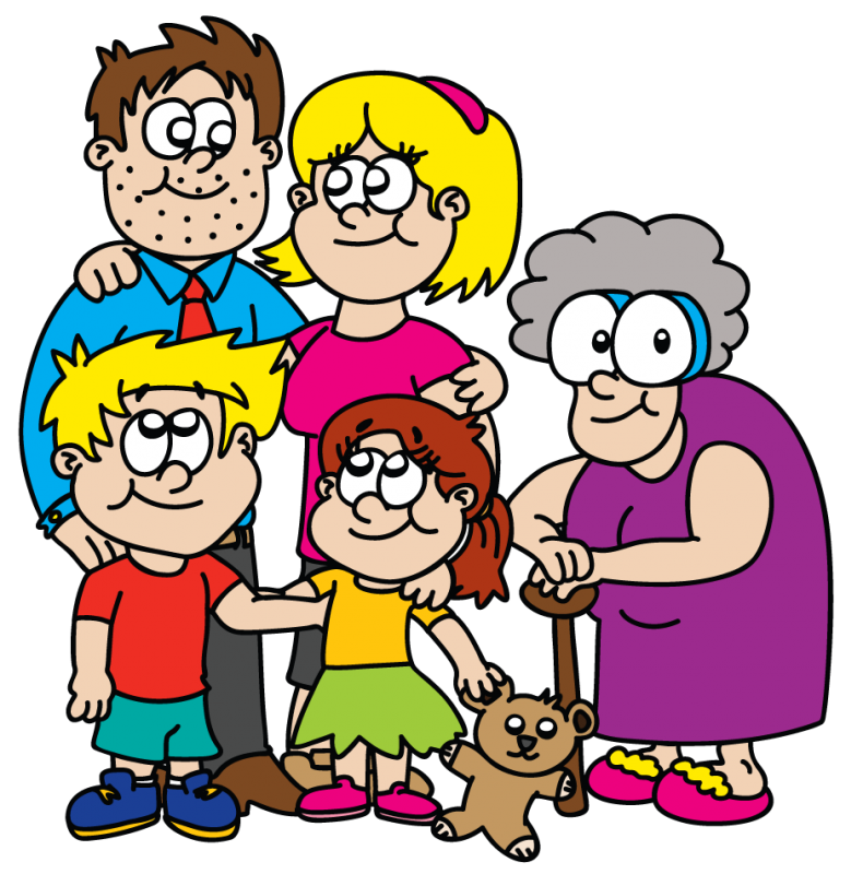 Group Of 6 Cartoon Characters : Cartoon characters family clipart best